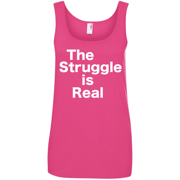 The Struggle is Real Apparel CustomCat 882L Anvil Ladies' 100% Ringspun Cotton Tank Top Hot Pink Small