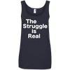 The Struggle is Real Apparel CustomCat 882L Anvil Ladies' 100% Ringspun Cotton Tank Top Navy Small