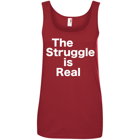 The Struggle is Real Apparel CustomCat 882L Anvil Ladies' 100% Ringspun Cotton Tank Top Red Small