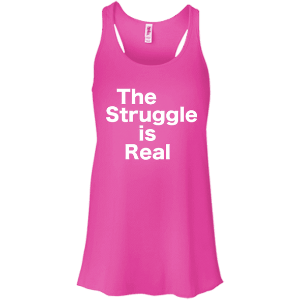 The Struggle is Real Apparel CustomCat B8800 Bella + Canvas Flowy Racerback Tank Neon Pink X-Small