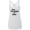 The Struggle is Real Apparel CustomCat NL6733 Next Level Ladies' Triblend Racerback Tank Heather White X-Small