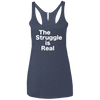 The Struggle is Real Apparel CustomCat NL6733 Next Level Ladies' Triblend Racerback Tank Vintage Navy X-Small