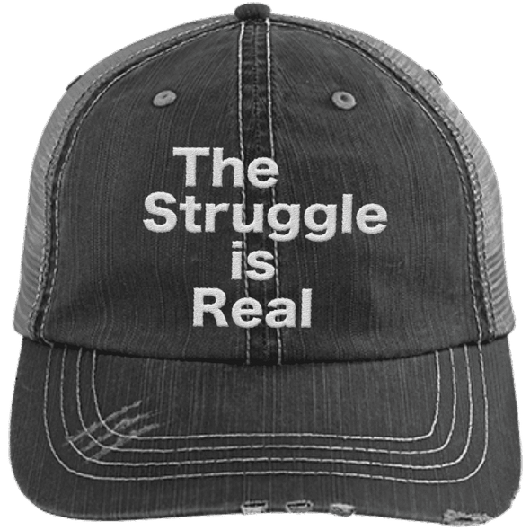 The Struggle is Real Distressed Trucker Cap Apparel CustomCat 6990 Distressed Unstructured Trucker Cap Black/Grey One Size