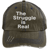 The Struggle is Real Distressed Trucker Cap Apparel CustomCat 6990 Distressed Unstructured Trucker Cap Brown/Navy One Size