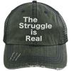 The Struggle is Real Distressed Trucker Cap Apparel CustomCat 6990 Distressed Unstructured Trucker Cap Dark Green/Navy One Size