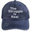 The Struggle is Real Distressed Trucker Cap Apparel CustomCat 6990 Distressed Unstructured Trucker Cap Navy/Navy One Size