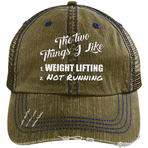 The Two Things I Like Hats CustomCat Brown/Navy One Size