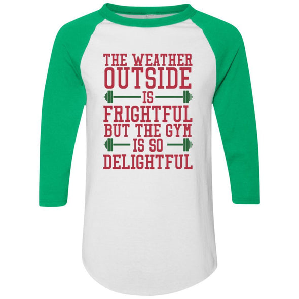 The Weather Outside is Frightful Raglan Jersey Apparel CustomCat Raglan Jersey White/Kelly S