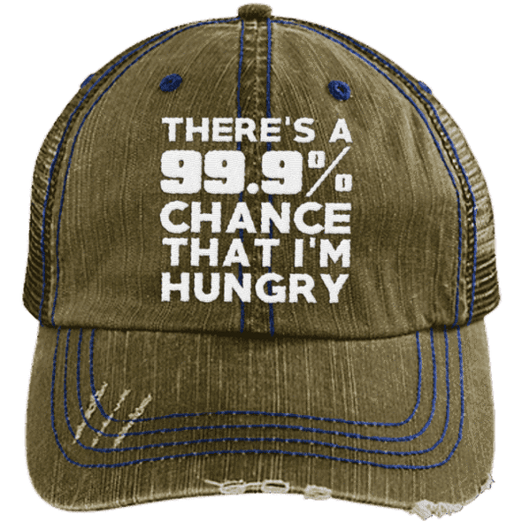 There is 99.9% Chance That I'm Hungry Hats CustomCat Brown/Navy One Size