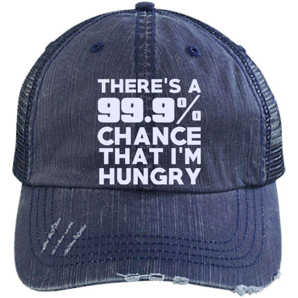 There is 99.9% Chance That I'm Hungry Hats CustomCat Navy/Navy One Size