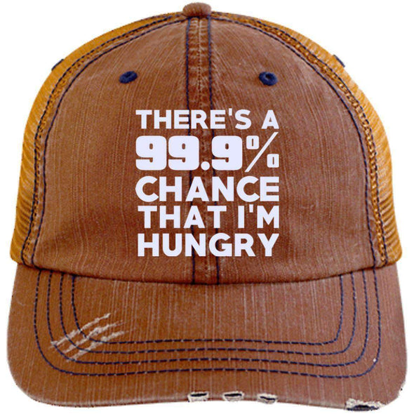 There is 99.9% Chance That I'm Hungry Hats CustomCat Orange/Navy One Size
