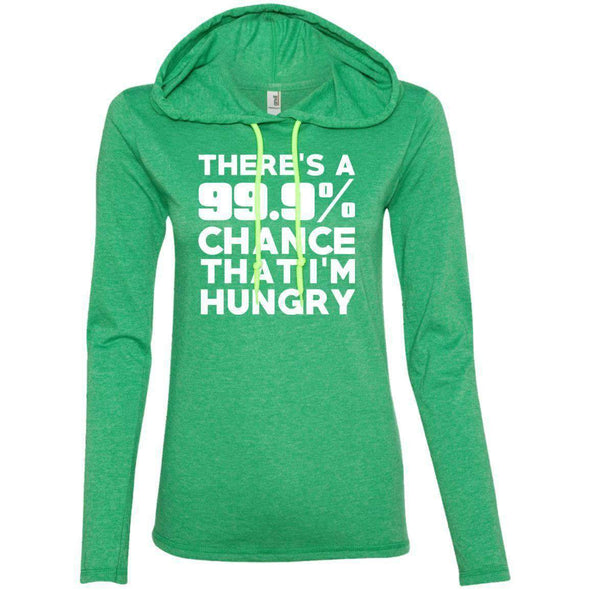 There is 99.9% Chance That I'm Hungry T-Shirts CustomCat Heather Green/Neon Yellow Small