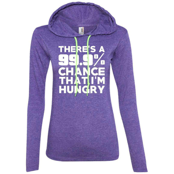 There is 99.9% Chance That I'm Hungry T-Shirts CustomCat Heather Purple/Neon Yellow Small