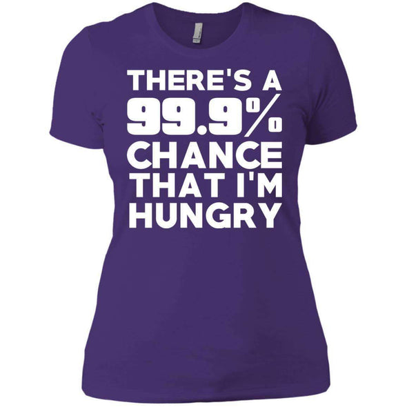 There is 99.9% Chance That I'm Hungry T-Shirts CustomCat Purple X-Small