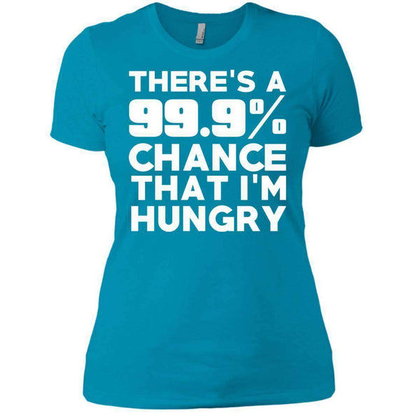 There is 99.9% Chance That I'm Hungry T-Shirts CustomCat Turquoise X-Small