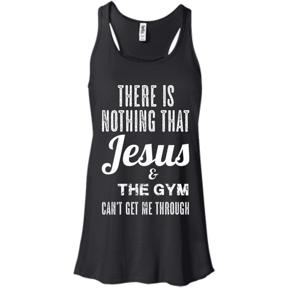 There is Nothing that Jesus & the Gym Can't Get Me Through Apparel CustomCat Bella+Canvas Flowy Racerback Tank Black X-Small