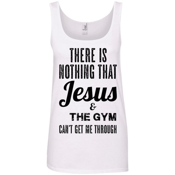 There is Nothing that Jesus & the Gym Can't Get Me Through Apparel CustomCat Ladies' 100% Ringspun Cotton Tank Top White Small