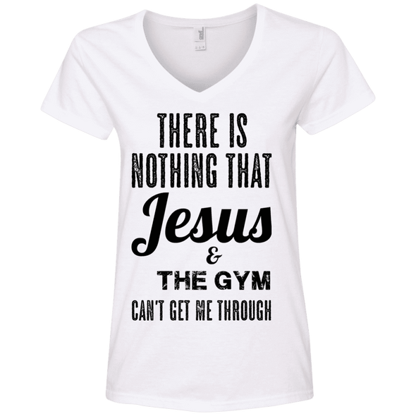 There is Nothing that Jesus & the Gym Can't Get Me Through Apparel CustomCat Ladies' V-Neck Tee White Small