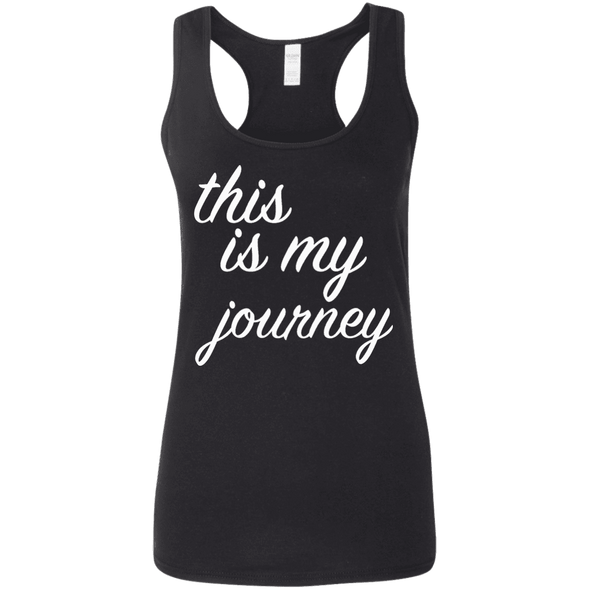 This is My Journey Apparel CustomCat G645RL Gildan Ladies' Softstyle Racerback Tank Black Small