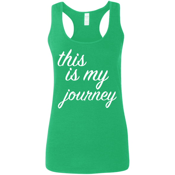 This is My Journey Apparel CustomCat G645RL Gildan Ladies' Softstyle Racerback Tank Heather Irish Green Small