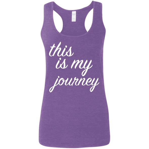 This is My Journey Apparel CustomCat G645RL Gildan Ladies' Softstyle Racerback Tank Heather Purple Small