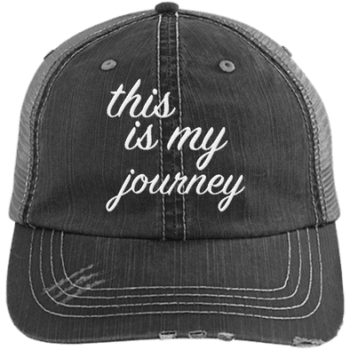 This is My Journey Distressed Trucker Cap Apparel CustomCat 6990 Distressed Unstructured Trucker Cap Black/Grey One Size