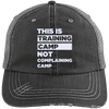This is Training Camp Distressed Trucker Cap Apparel CustomCat 6990 Distressed Unstructured Trucker Cap Black/Grey One Size