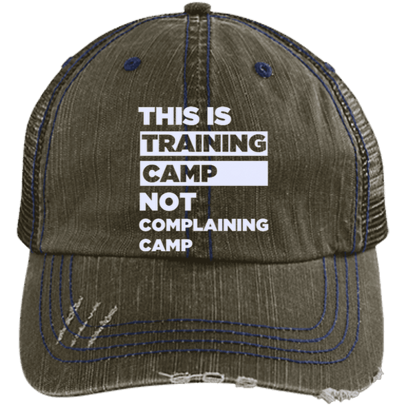 This is Training Camp Distressed Trucker Cap Apparel CustomCat 6990 Distressed Unstructured Trucker Cap Brown/Navy One Size