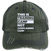 This is Training Camp Distressed Trucker Cap Apparel CustomCat 6990 Distressed Unstructured Trucker Cap Dark Green/Navy One Size