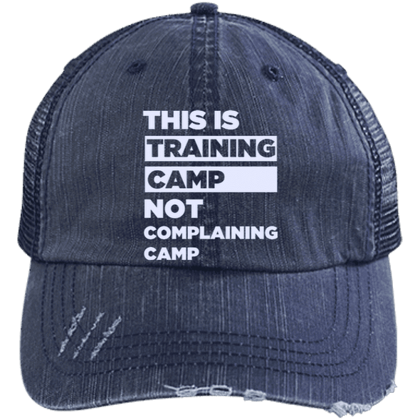 This is Training Camp Distressed Trucker Cap Apparel CustomCat 6990 Distressed Unstructured Trucker Cap Navy/Navy One Size