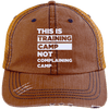This is Training Camp Distressed Trucker Cap Apparel CustomCat 6990 Distressed Unstructured Trucker Cap Orange/Navy One Size