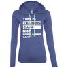 This is Training Camp (Hoodies) Apparel CustomCat Ladies' LS T-Shirt Hoodie Heather Blue/Neon Yellow Small