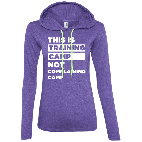 This is Training Camp (Hoodies) Apparel CustomCat Ladies' LS T-Shirt Hoodie Heather Purple/Neon Yellow Small