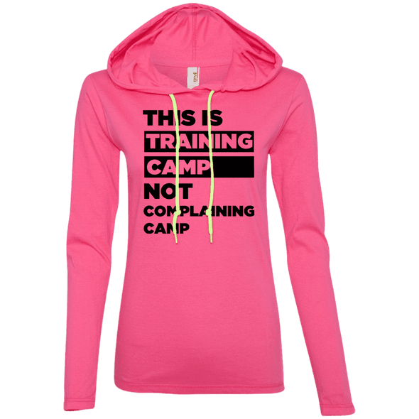 This is Training Camp (Hoodies) Apparel CustomCat Ladies' LS T-Shirt Hoodie Hot Pink/Neon Yellow Small