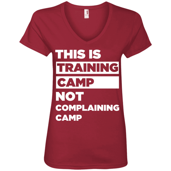 This is Training Camp (Tees) Apparel CustomCat Ladies' V-Neck Tee Independence Red Small