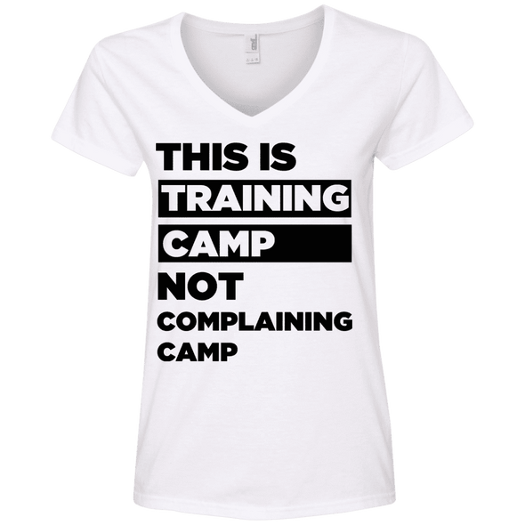 This is Training Camp (Tees) Apparel CustomCat Ladies' V-Neck Tee White Small