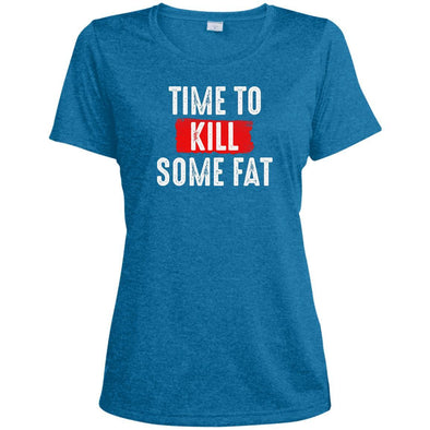 Time To Kill Some Fat Dri-Fit Tee T-Shirts CustomCat Blue Wake Heather X-Small