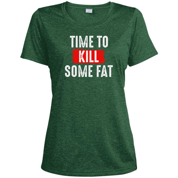Time To Kill Some Fat Dri-Fit Tee T-Shirts CustomCat Forest Green Heather X-Small