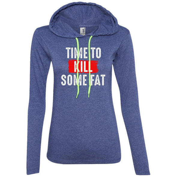 Time To Kill Some Fat Hoodie T-Shirts CustomCat Heather Blue/Neon Yellow S