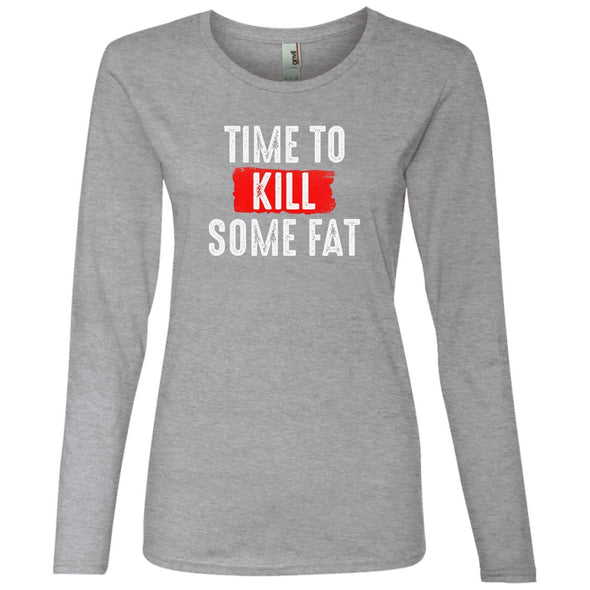 Time To Kill Some Fat Long Sleeve T-Shirts CustomCat Heather Grey S