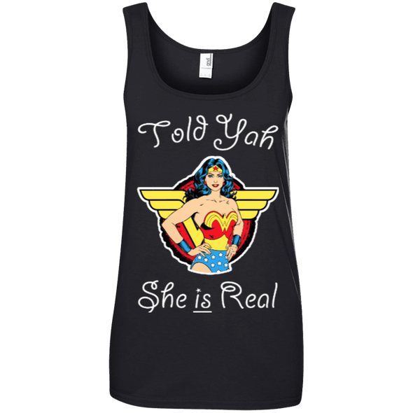 Told Yah She is Real Apparel CustomCat Ladies' 100% Ringspun Cotton Tank Top Black Small