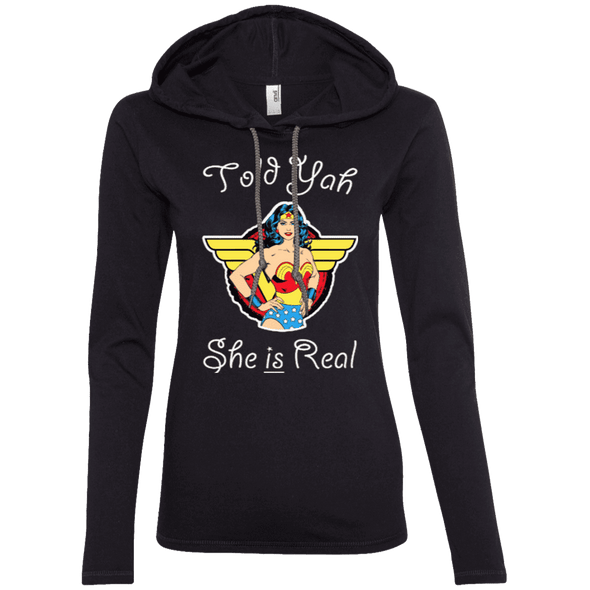 Told Yah She is Real Apparel CustomCat Ladies LS T-Shirt Hoodie Black/Dark Grey Small