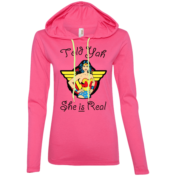 Told Yah She is Real Apparel CustomCat Ladies LS T-Shirt Hoodie Hot Pink/Neon Yellow Small