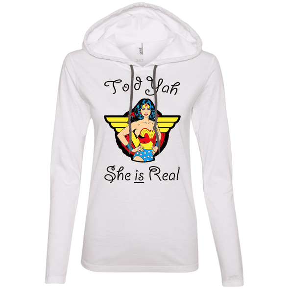 Told Yah She is Real Apparel CustomCat Ladies LS T-Shirt Hoodie White/Dark Grey Small