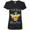 Told Yah She is Real Apparel CustomCat Ladies' V-Neck Tee Black Small