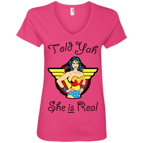 Told Yah She is Real Apparel CustomCat Ladies' V-Neck Tee Hot Pink Small