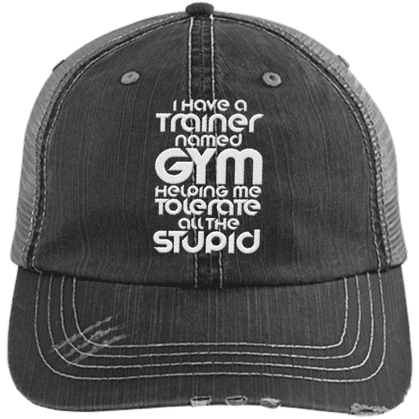 Tolerate All the Stupid Distressed Trucker Cap Apparel CustomCat 6990 Distressed Unstructured Trucker Cap Black/Grey One Size