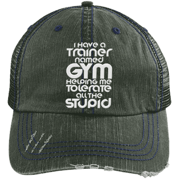 Tolerate All the Stupid Distressed Trucker Cap Apparel CustomCat 6990 Distressed Unstructured Trucker Cap Dark Green/Navy One Size