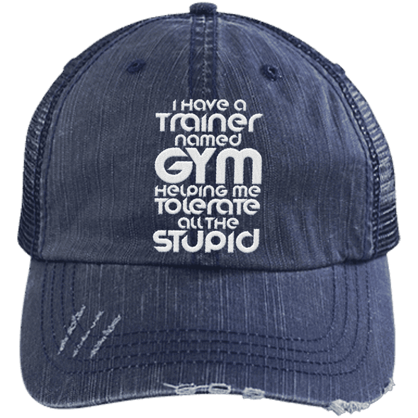 Tolerate All the Stupid Distressed Trucker Cap Apparel CustomCat 6990 Distressed Unstructured Trucker Cap Navy/Navy One Size