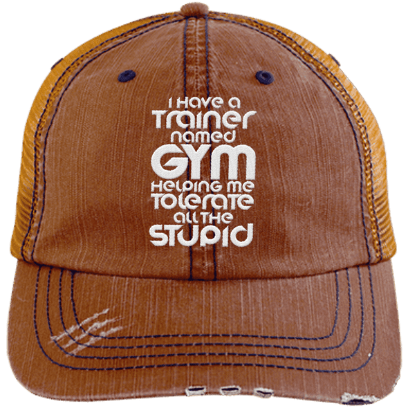 Tolerate All the Stupid Distressed Trucker Cap Apparel CustomCat 6990 Distressed Unstructured Trucker Cap Orange/Navy One Size
